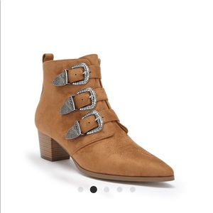 Forever 21 Faux Suede Buckle Ankle Booties